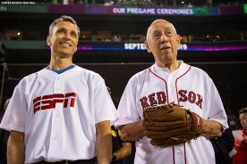 BOSTON, MA - SEPTEMBER 8: ESPN President Jimmy Pitaro and ESPN founder Bill Rasmussen look on before catching and throwing out a ceremonial first pitch before a game between the Boston Red Sox and the New York Yankees on September 8, 2019 at Fenway Park in Boston, Massachusetts. (Photo by Billie Weiss/Boston Red Sox/Getty Images) *** Local Caption *** Bill Rasmussen; Jimmy Pitaro