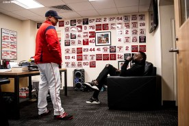 BOSTON, MA - SEPTEMBER 9: Former designated hitter David Ortiz #34 of the Boston Red Sox talks with manager Alex Cora in his office before throwing out a ceremonial first pitch as he returns to Fenway Park before a game against the New York Yankees on September 9, 2019 at Fenway Park in Boston, Massachusetts. (Photo by Billie Weiss/Boston Red Sox/Getty Images) *** Local Caption *** David Ortiz; Alex Cora