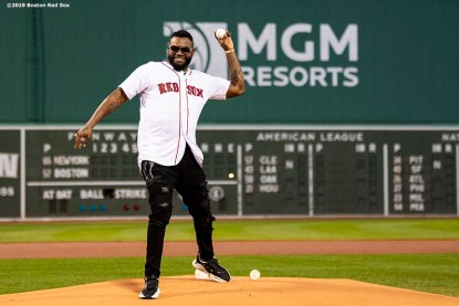 BOSTON, MA - SEPTEMBER 9: Former designated hitter David Ortiz #34 of the Boston Red Sox throws out a ceremonial first pitch as he returns to Fenway Park before a game against the New York Yankees on September 9, 2019 at Fenway Park in Boston, Massachusetts. (Photo by Billie Weiss/Boston Red Sox/Getty Images) *** Local Caption *** David Ortiz