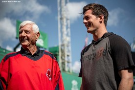 BOSTON, MA - SEPTEMBER 17: Former Boston Red Sox left fielder Carl Yastrzemski reacts with his grandson Mike Yastrzemski #5 of the San Francisco Giants during the filming of an MLB Network segment on September 17, 2019 at Fenway Park in Boston, Massachusetts. (Photo by Billie Weiss/Boston Red Sox/Getty Images) *** Local Caption *** Mike Yastrzemski; Carl Yastrzemski