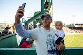 BOSTON, MA - SEPTEMBER 19: A fan poses for a selfie photograph with his son during a game between the Boston Red Sox and the San Francisco Giants on September 19, 2019 at Fenway Park in Boston, Massachusetts. (Photo by Billie Weiss/Boston Red Sox/Getty Images) *** Local Caption ***