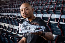 BOSTON, MA - SEPTEMBER 27: Mookie Betts #50 of the Boston Red Sox poses for a portrait with a pair of Jordan cleats before a game against the Baltimore Orioles on September 27, 2019 at Fenway Park in Boston, Massachusetts. (Photo by Billie Weiss/Boston Red Sox/Getty Images) *** Local Caption *** Mookie Betts
