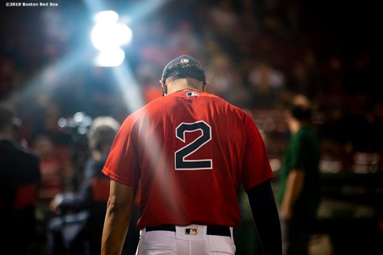 BOSTON, MA - SEPTEMBER 27: Xander Bogaerts #2 of the Boston Red Sox looks on before a game against the Baltimore Orioles on September 27, 2019 at Fenway Park in Boston, Massachusetts. (Photo by Billie Weiss/Boston Red Sox/Getty Images) *** Local Caption *** Xander Bogaerts