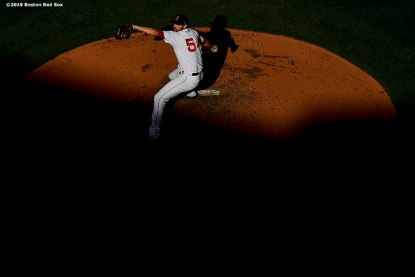 BOSTON, MA - SEPTEMBER 28: Colten Brewer #54 of the Boston Red Sox delivers during the seventh inning of a game against the Baltimore Orioles on September 28, 2019 at Fenway Park in Boston, Massachusetts. (Photo by Billie Weiss/Boston Red Sox/Getty Images) *** Local Caption *** Colten Brewer