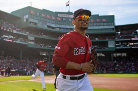BOSTON, MA - SEPTEMBER 29: Mookie Betts #16 of the Boston Red Sox runs onto the field before a game against the Baltimore Orioles on September 29, 2019 at Fenway Park in Boston, Massachusetts. (Photo by Billie Weiss/Boston Red Sox/Getty Images) *** Local Caption *** Mookie Betts