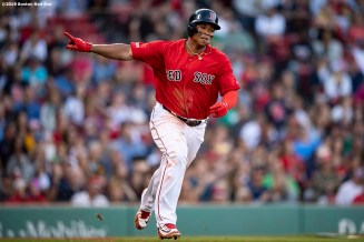BOSTON, MA - SEPTEMBER 29: Rafael Devers #11 of the Boston Red Sox reacts after hitting a double during the seventh inning of a game against the Baltimore Orioles on September 29, 2019 at Fenway Park in Boston, Massachusetts. It was his 200th hit of the season. (Photo by Billie Weiss/Boston Red Sox/Getty Images) *** Local Caption *** Rafael Devers