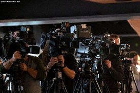 BOSTON, MA - OCTOBER 28: Cameras roll as Chaim Bloom is introduced as Boston Red Sox Chief Baseball Officer during a press conference on October 28, 2019 at Fenway Park in Boston, Massachusetts. (Photo by Billie Weiss/Boston Red Sox/Getty Images) *** Local Caption *** Chaim Bloom