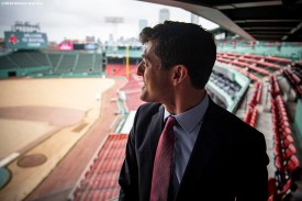 BOSTON, MA - OCTOBER 28: Chaim Bloom looks on as he is introduced as Boston Red Sox Chief Baseball Officer during a press conference on October 28, 2019 at Fenway Park in Boston, Massachusetts. (Photo by Billie Weiss/Boston Red Sox/Getty Images) *** Local Caption *** Chaim Bloom