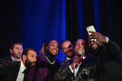 BOSTON, MA - NOVEMBER 1: Former Boston Red Sox catcher Jason Varitek, Jose Bautista #19 of the Philadelphia Phillies, Vladimir Guerrero Jr. #27 of the Toronto Blue Jays, Willy Adames #1 of the Tampa Bay Rays, former Boston Red Sox pitcher Pedro Martinez and former designated hitter David Ortiz pose for a selfie photograph during the Pedro Martinez Foundation Fourth Annual Gala Supporting At-Risk Youth on November 1, 2019 at the Mandarin Oriental in Boston, Massachusetts. (Photo by Billie Weiss/Boston Red Sox/Getty Images) *** Local Caption *** Jason Varitek; Jose Bautista; Vladimir Guerrero Jr.; Willy Adames; Pedro Martinez; David Ortiz