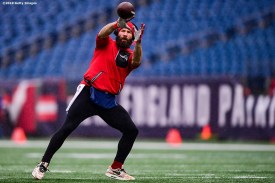 FOXBOROUGH, MASSACHUSETTS - NOVEMBER 24: Julian Edelman #11 of the New England Patriots warms up before the game against the Dallas Cowboys at Gillette Stadium on November 24, 2019 in Foxborough, Massachusetts. (Photo by Billie Weiss/Getty Images)