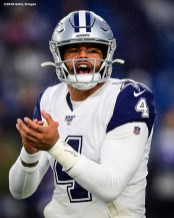 FOXBOROUGH, MASSACHUSETTS - NOVEMBER 24: Dak Prescott #4 of the Dallas Cowboys reacts before the game against the New England Patriots at Gillette Stadium on November 24, 2019 in Foxborough, Massachusetts. (Photo by Billie Weiss/Getty Images)