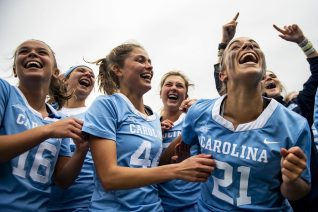 April 28, 2019 , Chestnut Hill, MA: Members of University of North Carolina celebrate a victory in the 2019 Women's Lacrosse ACC Championship game against Boston College at Alumni Stadium in Chestnut Hill, Massachusetts Sunday, April 28, 2019. (Photo by Billie Weiss/Boston College)