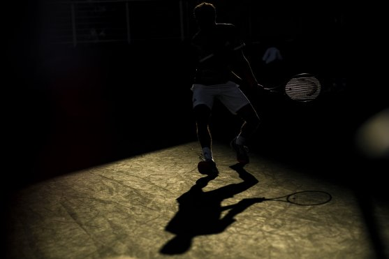 August 29, 2019, New York City, NY: Gilles Simon in action as shadows fall on court 11 during the 2019 US Open Tennis Championships at the Billie Jean King National Tennis Center in New York, New York Thursday, August 29, 2019. (Photo by Billie Weiss/US Open Tennis Championships)