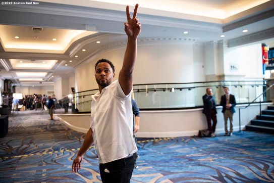BOSTON, MA - DECEMBER 10: Xander Bogaerts #2 of the Boston Red Sox reacts after being introduced as a member of the 2019 All-MLB team during the 2019 Major League Baseball Winter Meetings on December 10, 2019 in San Diego, California. (Photo by Billie Weiss/Boston Red Sox/Getty Images) *** Local Caption *** Xander Bogaerts
