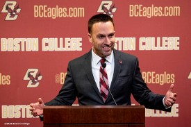 December 16, 2019, Chestnut Hill, MA: Newly appointed Boston College Football Head Coach Jeff Hafley addresses the media during a press conference during his first day at Boston College in Chestnut Hill, Massachusetts Monday, December 16, 2019. (Photo by Billie Weiss/Boston College)