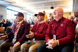 December 16, 2019, Chestnut Hill, MA: Gridiron Club members attend an appearance by newly appointed Boston College Football Head Coach Jeff Hafley during his first day at Boston College in Chestnut Hill, Massachusetts Monday, December 16, 2019. (Photo by Billie Weiss/Boston College)