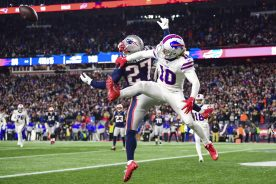 FOXBOROUGH, MA - DECEMBER 21: J.C. Jackson #27 of the New England Patriots breaks up a pass intended for Cole Beasley #10 of the Buffalo Bills during the fourth quarter of a game at Gillette Stadium on December 21, 2019 in Foxborough, Massachusetts. (Photo by Billie Weiss/Getty Images) *** Local Caption *** J.C. Jackson; Cole Beasley