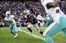 FOXBOROUGH, MA - DECEMBER 29: Phillip Dorsett II #13 of the New England Patriots carries the ball after a catch during the second quarter of a game against the Miami Dolphins at Gillette Stadium on December 29, 2019 in Foxborough, Massachusetts. (Photo by Billie Weiss/Getty Images) *** Local Caption *** Phillip Dorsett II