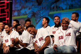 SPRINGFIELD, MA - JANUARY 17:Nathan Eovaldi #17, Jackie Bradley Jr. #19, and Xander Bogaerts #2 react as Rafael Devers #11 of the Boston Red Sox is chosen to sing during the Boston Red Sox NESN Town Hall during the 2020 Red Sox Winter Weekend on January 17, 2020 at MGM Springfield and MassMutual Center in Springfield, Massachusetts. (Photo by Billie Weiss/Boston Red Sox/Getty Images) *** Local Caption *** Rafael Devers; Nathan Eovaldi; Jackie Bradley Jr. Xander Bogaerts