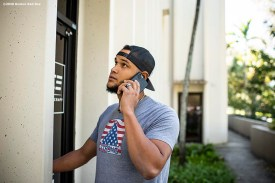 DAVIE, FL - DECEMBER 3: Eduardo Rodriguez #57 of the Boston Red Sox talks on the phone as he arrives during an off-season workout on December 3, 2019 at Bommarito Performance Systems in Davie, Florida. (Photo by Billie Weiss/Boston Red Sox/Getty Images) *** Local Caption *** Eduardo Rodriguez