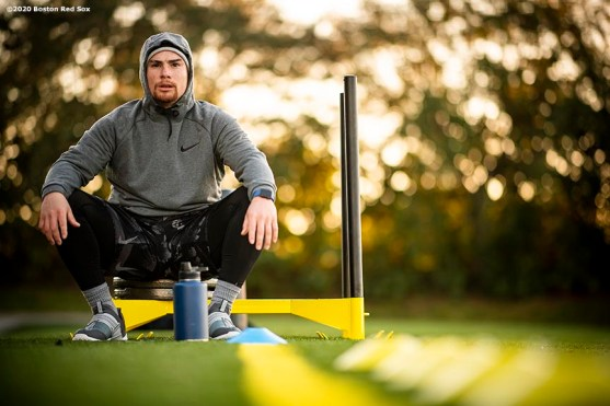 WESTON, FL - DECEMBER 3: Christian Vazquez #7 of the Boston Red Sox looks on uring an early morning off-season workout on December 3, 2019 at in Weston, Florida. (Photo by Billie Weiss/Boston Red Sox/Getty Images) *** Local Caption *** Christian Vazquez