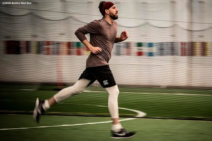 BROOKFIELD, CT - DECEMBER 20: Matt Barnes #32 of the Boston Red Sox runs during an off-season workout on December 20, 2019 at Iron Factory Gym in Brookfield, Connecticut. (Photo by Billie Weiss/Boston Red Sox/Getty Images) *** Local Caption *** Matt Barnes