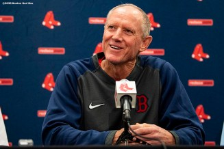 FT. MYERS, FL - FEBRUARY 11: Ron Roenicke of the Boston Red Sox speaks to the media during a press conference as he is announced as the Boston Red Sox Interim Manager on February 11, 2020 at JetBlue Park at Fenway South in Fort Myers, Florida. (Photo by Billie Weiss/Boston Red Sox/Getty Images) *** Local Caption *** Ron Roenicke