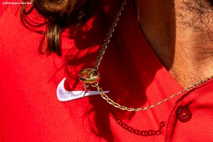 FT. MYERS, FL - FEBRUARY 15: A player's necklace is shown during a Boston Red Sox team workout on February 15, 2020 at JetBlue Park at Fenway South in Fort Myers, Florida. (Photo by Billie Weiss/Boston Red Sox/Getty Images) *** Local Caption ***