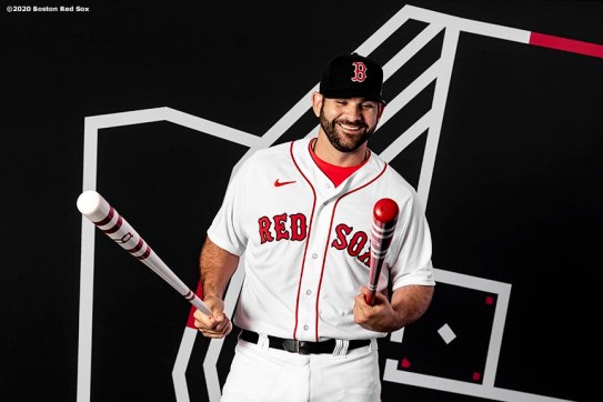FT. MYERS, FL - FEBRUARY 19: Mitch Moreland #18 of the Boston Red Sox poses for a portrait during team photo day on February 19, 2020 at jetBlue Park at Fenway South in Fort Myers, Florida. (Photo by Billie Weiss/Boston Red Sox/Getty Images) *** Local Caption *** Mitch Moreland