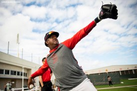 FT. MYERS, FL - FEBRUARY 20: Former pitcher Pedro Martinez of the Boston Red Sox throws during a team workout on February 20, 2020 at jetBlue Park at Fenway South in Fort Myers, Florida. (Photo by Billie Weiss/Boston Red Sox/Getty Images) *** Local Caption *** Pedro Martinez