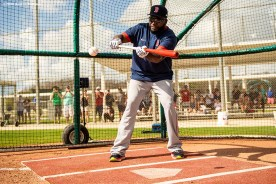 FT. MYERS, FL - FEBRUARY 20: Former designated hitter David Ortiz of the Boston Red Sox bunts during a team workout on February 20, 2020 at jetBlue Park at Fenway South in Fort Myers, Florida. (Photo by Billie Weiss/Boston Red Sox/Getty Images) *** Local Caption *** David Ortiz