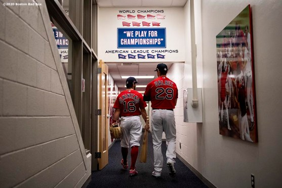 FT. MYERS, FL - FEBRUARY 27: Andrew Benintendi #16 and Bobby Dalbec #29 of the Boston Red Sox walk through the tunnel before a Grapefruit League game against the Philadelphia Phillies on February 27, 2020 at jetBlue Park at Fenway South in Fort Myers, Florida. (Photo by Billie Weiss/Boston Red Sox/Getty Images) *** Local Caption *** Andrew Benintendi; Bobby Dalbec