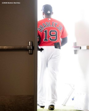 FT. MYERS, FL - FEBRUARY 27: Jackie Bradley Jr. #19 of the Boston Red Sox exits the tunnel before a Grapefruit League game against the Philadelphia Phillies on February 27, 2020 at jetBlue Park at Fenway South in Fort Myers, Florida. (Photo by Billie Weiss/Boston Red Sox/Getty Images) *** Local Caption *** Jackie Bradley Jr.