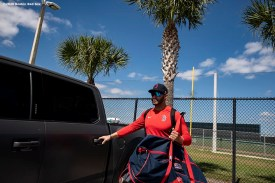 FT. MYERS, FL - FEBRUARY 28: J.D. Martinez #28 of the Boston Red Sox enters his car as he drives to CenturyLink Sports Complex for a Grapefruit League game against the Minnesota Twins on February 28, 2020 in Fort Myers, Florida. (Photo by Billie Weiss/Boston Red Sox/Getty Images) *** Local Caption *** J.D. Martinez