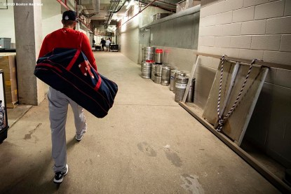 FT. MYERS, FL - FEBRUARY 28: J.D. Martinez #28 of the Boston Red Sox arrives to CenturyLink Sports Complex for a Grapefruit League game against the Minnesota Twins on February 28, 2020 in Fort Myers, Florida. (Photo by Billie Weiss/Boston Red Sox/Getty Images) *** Local Caption *** J.D. Martinez