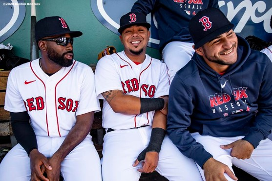 FT. MYERS, FL - FEBRUARY 29: Jackie Bradley Jr. #19, Juan Centeno #13, and Martin Perez #54 of the Boston Red Sox react before a Grapefruit League game against the New York Yankees on February 29, 2020 at jetBlue Park at Fenway South in Fort Myers, Florida. (Photo by Billie Weiss/Boston Red Sox/Getty Images) *** Local Caption *** Jackie Bradley Jr.; Juan Centeno; Martin Perez