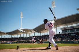 FT. MYERS, FL - FEBRUARY 29: Jackie Bradley Jr. #19 of the Boston Red Sox warms up during the first inning of a Grapefruit League game against the New York Yankees on February 29, 2020 at jetBlue Park at Fenway South in Fort Myers, Florida. (Photo by Billie Weiss/Boston Red Sox/Getty Images) *** Local Caption *** Jackie Bradley Jr.