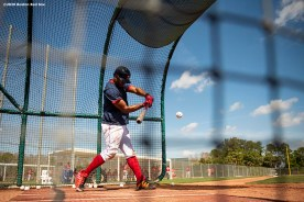 FT. MYERS, FL - MARCH 5: Xander Bogaerts #2 of the Boston Red Sox takes batting practice before a Grapefruit League game against the Houston Astros on March 5, 2020 at jetBlue Park at Fenway South in Fort Myers, Florida. (Photo by Billie Weiss/Boston Red Sox/Getty Images) *** Local Caption *** Xander Bogaerts