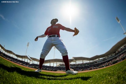 FT. MYERS, FL - MARCH 5: Xander Bogaerts #2 of the Boston Red Sox warms up before a Grapefruit League game against the Houston Astros on March 5, 2020 at jetBlue Park at Fenway South in Fort Myers, Florida. (Photo by Billie Weiss/Boston Red Sox/Getty Images) *** Local Caption *** Xander Bogaerts