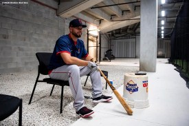 FT. MYERS, FL - MARCH 6: Kevin Plawecki #25 of the Boston Red Sox reacts in the batting cage before a Grapefruit League game against the Atlanta Braves on March 6, 2020 at CoolToday Park in North Port, Florida. (Photo by Billie Weiss/Boston Red Sox/Getty Images) *** Local Caption *** Kevin Plawecki