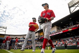 FT. MYERS, FL - MARCH 6: Nick Longhi #83 and Jarren Duran #92 of the Boston Red Sox warm up before a Grapefruit League game against the Atlanta Braves on March 6, 2020 at CoolToday Park in North Port, Florida. (Photo by Billie Weiss/Boston Red Sox/Getty Images) *** Local Caption *** Nick Longhi; Jarren Duran