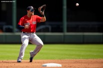 FT. MYERS, FL - MARCH 6: Michael Chavis #23 of the Boston Red Sox fields a ground ball during the first inning of a Grapefruit League game against the Atlanta Braves on March 6, 2020 at CoolToday Park in North Port, Florida. (Photo by Billie Weiss/Boston Red Sox/Getty Images) *** Local Caption *** Michael Chavis