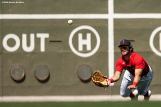 FT. MYERS, FL - MARCH 7: Andrew Benintendi #16 of the Boston Red Sox dives as he catches a fly ball during the third inning of a Grapefruit League game against the Toronto Blue Jays on March 7, 2020 at jetBlue Park at Fenway South in Fort Myers, Florida. (Photo by Billie Weiss/Boston Red Sox/Getty Images) *** Local Caption *** Andrew Benintendi