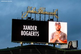 BOSTON, MA - APRIL 9: The scoreboard displays a video message from Boston Red Sox shortstop Xander Bogaerts as medical professionals from Beth Israel Deaconess Medical Center are welcomed onto the empty field at Fenway Park in recognition of their work during the coronavirus pandemic on April 9, 2020 at Fenway Park in Boston, Massachusetts. The welcoming was filmed for the 'Some Good News With John Krasinski' YouTube series. (Photo by Billie Weiss/Boston Red Sox/Getty Images) *** Local Caption ***
