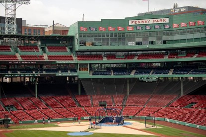 BOSTON, MA - JULY 8: A general view during a Boston Red Sox summer camp workout before the start of the 2020 Major League Baseball season on July 8, 2020 at Fenway Park in Boston, Massachusetts. The season was delayed due to the coronavirus pandemic. (Photo by Billie Weiss/Boston Red Sox/Getty Images) *** Local Caption ***