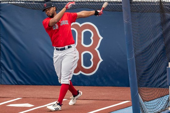 BOSTON, MA - JULY 8: Xander Bogaerts #2 of the Boston Red Sox takes batting practice during a summer camp workout before the start of the 2020 Major League Baseball season on July 8, 2020 at Fenway Park in Boston, Massachusetts. The season was delayed due to the coronavirus pandemic. (Photo by Billie Weiss/Boston Red Sox/Getty Images) *** Local Caption *** Xander Bogaerts