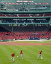 BOSTON, MA - JULY 8: Members of the Boston Red Sox work out during a summer camp workout before the start of the 2020 Major League Baseball season on July 8, 2020 at Fenway Park in Boston, Massachusetts. The season was delayed due to the coronavirus pandemic. (Photo by Billie Weiss/Boston Red Sox/Getty Images) *** Local Caption ***