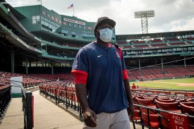 BOSTON, MA - JULY 9: Domingo Tapia #75 of the Boston Red Sox walks through the seats after an inter squad game during a summer camp workout before the start of the 2020 Major League Baseball season on July 9, 2020 at Fenway Park in Boston, Massachusetts. The season was delayed due to the coronavirus pandemic. (Photo by Billie Weiss/Boston Red Sox/Getty Images) *** Local Caption *** Domingo Tapia