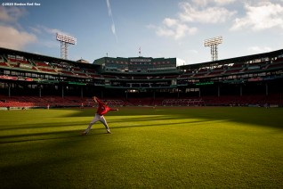 BOSTON, MA - JULY 17: Kyle Hart #81 of the Boston Red Sox warms up before an intra squad game during a summer camp workout before the start of the 2020 Major League Baseball season on July 17, 2020 at Fenway Park in Boston, Massachusetts. The season was delayed due to the coronavirus pandemic. (Photo by Billie Weiss/Boston Red Sox/Getty Images) *** Local Caption *** Kyle Hart