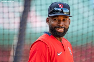 BOSTON, MA - JULY 27: Jackie Bradley Jr. #19 of the Boston Red Sox reacts before a game against the New York Mets on July 27, 2020 at Fenway Park in Boston, Massachusetts. The 2020 season had been postponed since March due to the COVID-19 pandemic. (Photo by Billie Weiss/Boston Red Sox/Getty Images) *** Local Caption *** Jackie Bradley Jr.